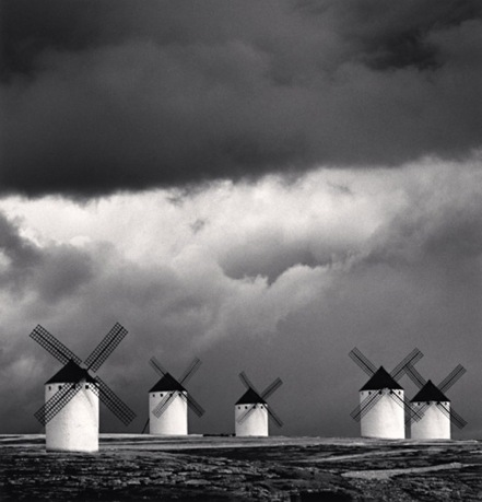 Michael Kenna, Quixote's Giants, Study 2, Campo de Criptana, La Mancha, Spain, 1996. Sepia-toned gelatin silver print, 8 x 7 5/8 inches. Courtesy of the artist and G. Gibson Gallery, Seattle.