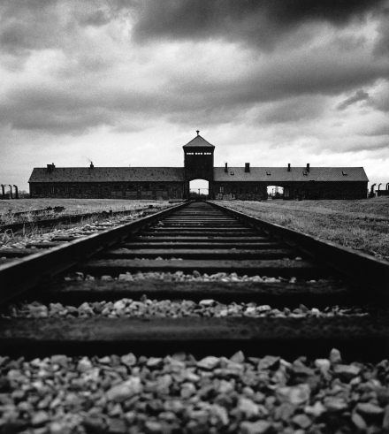 Michael Kenna, SS Guard House, (Death Gate), Birkenau, Poland, 1992. Sepia-toned gelatin silver print, 8 3/8 x 7 1/2 inches. Courtesy of the artist and G. Gibson Gallery, Seattle.