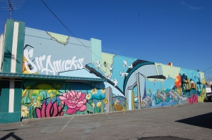 Mural at 5441 South Sheridan. Lead artists: Kenji Stoll, Chris Jordan. Artist team: David Long, Yvette Simone, Chelsea O'Sullivan, Natalie Oswald.