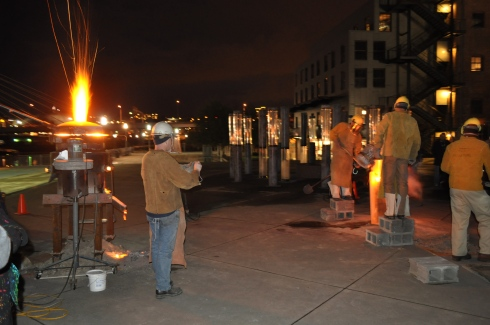What happens when molten iron is poured into 300# blocks of ice? Come check it out.