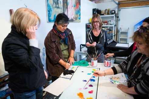 Marit Berg gives a hands-on demonstration during the Tacoma Studio Tour. Photo property of the City of Tacoma.