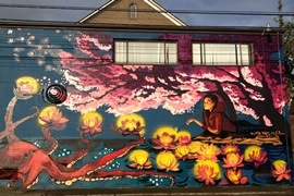 Tacoma Buddhist Temple mural at 1717 S. Fawcett Ave. Artist: Chelsea O'Sullivan. 2013. Photo by Chelsea O'Sullivan.
