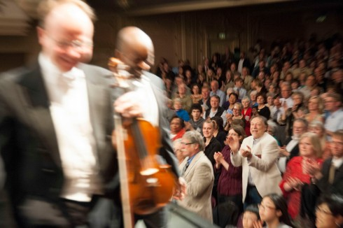 Final standing ovation and exiting stage by Maestro Felder and Concert Master Svend Ronning.