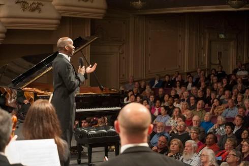 Maestro Harvey Felder addresses the audience.