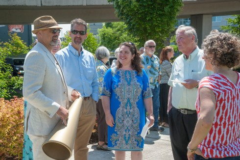 Council Member David Boe and Tacoma Arts Commission members Scott Ramsey, Traci Kelly, and Don Lacky gather before the dedication.