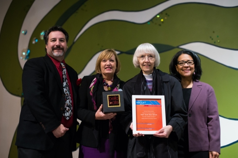 Council Member Marty Campbell; Jane Carlin and Rochelle Monner representing Puget Sound Book Artists, the 2013 AMOCAT Arts Award for Community Outreach by an Organization winner; and Mayor Marilyn Strickland