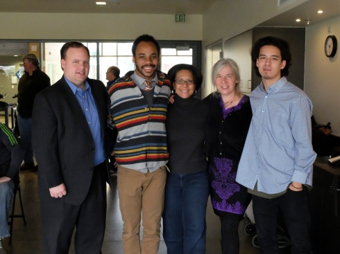 Left to right: City Council member Joe Lonergan, artist Chris Jordan, Mayor Marilyn Strickland, artist Claudia Riedener, and artist Kenji Stoll.