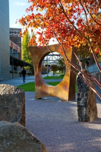 """Maru"" by Gerard Tsutakawa on the University of Washington Tacoma campus. Photos courtesy of UW Tacoma."