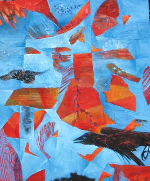 Birds I,  collage acylic, 2016, 24x31